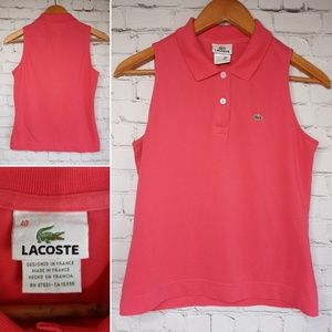 Lacoste sleeveless polo top size M